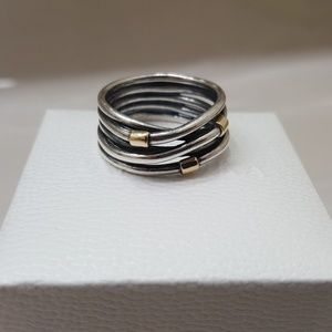 PANDORA Woven Rope Bands Ring 14K GOLD Two Tone